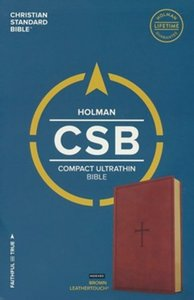 CSB compact Ultrathin bible Index brown leatherlook