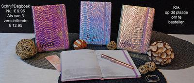 Schrijfdagboek iridescent set van 3