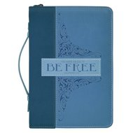 Bijbelhoes large Blauw be free