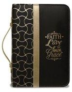 Bijbelhoes medium zwart/goud faith love