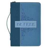 Bijbelhoes medium Blauw be free