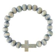 Houten armband kruis grijs